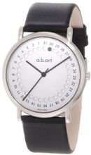 a.b. art KLD101 Series KLD Stainless Steel Swiss Quartz Date, Silver Dial and Leather Strap