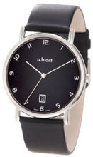 a.b. art KLD108 Series KLD Stainless Steel Swiss Quartz Date, Black Dial and Leather Strap