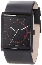 a.b. art Unisex EL152 Series EL Stainless Steel Swiss Quartz Black Dial and Leather Strap