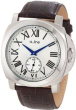 a_line 80007-02-BR Pyar Silver Textured Dial Brown Leather