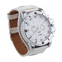 Absolute Fashion White Wide Leather Strap with Large Dial Quartz Wrist