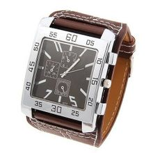 Absolute men's quartz wrist - Round shaped brown leather wrist ban