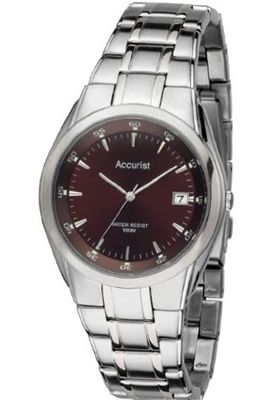 Accurist Quartz With Brown Dial Analogue Display And Stainless Steel Bracelet MB843BR