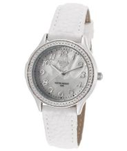 White Pearl Tone Dial White Leatherette