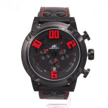 Adee Kaye 7280 Chronograph Collection Black Tone w/ Red Markers