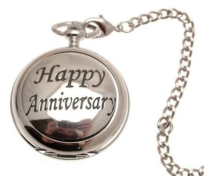 uAEW Pocket - Solid pewter fronted quartz pocket - Happy Anniversary design 54