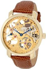 "Akribos XXIV AK406YG ""Bravura Davinci"" Mechanical Gold-Tone Stainless Steel and Leather"