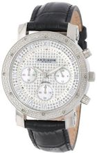 Akribos XXIV AK437SS Grandiose Silver-tone Diamond Chronograph Black Leather Strap