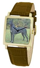 American Kennel Club D1810S012 Great Dane Gold-Tone Brown Leather