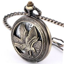 AMPM24 Antique Ladies Hollow Copper Eagle Pendant Quartz Pocket FOB WPK107