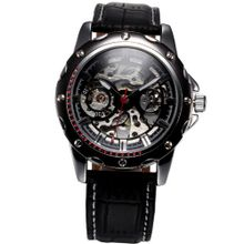 AMPM24 Automatic Mechanical Skeleton Black Leather Band Sport PMW209