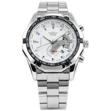 AMPM24 Automatic Mechanical White Dial Date Silver Steel Band Wrist PMW104