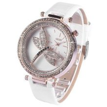 AMPM24 Bling Crystal Dragonfly Ladies White Genuine Leather Quartz Wrist WK1100