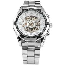 AMPM24 Fashion Stainless Steel Skeleton White Automatic Mechanical Wrist PMW102