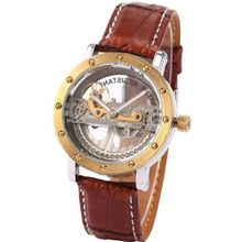 AMPM24 Luxury Analog Steampunk Brown Leather Automatic Mechanical Skeleton PMW151