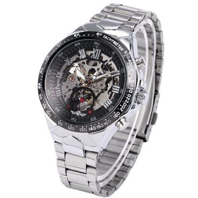 AMPM24 Silver Steel Skeleton Dial Automatic Mechanical Black Round PMW107