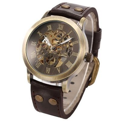 Steampunk Bronze Skeleton Self-Winding Auto Mechanical Leather Wrist PMW198