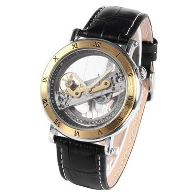 uAMPM24 Gold Tone Steampunk Transparent Skeleton Automatic Mechanical Sport PMW167