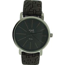 Anaii Pink 'Bambou' Gun Metal Dial Grey Woven Effect Strap Ladies AP587