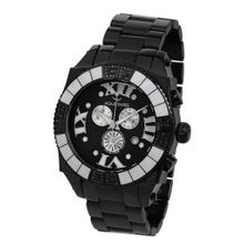 Aquasiss 62XGB001 Swissport Diamond Chronograph Black Ion Stainless Steel Case Black Stainless Steel Strap
