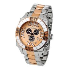 Aquasiss 62XGB003 Swissport Diamond Chronograph Two Tone Rose Gold Plated Stainless Steel Case and Band