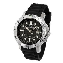 Aquasiss 96G002 Quartz Rugged Series Stainless Steel Case Black Rubber Strap