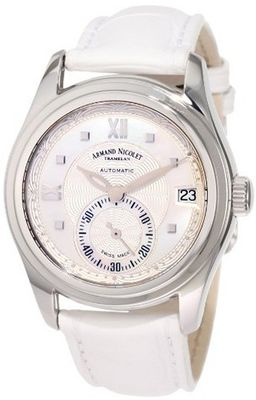Armand Nicolet 9155A-AN-P915BC8 M03 Stainless Steel and White Leather Automatic