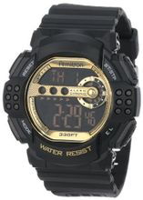 Armitron Sport 40/8270GBLK Large Gold Accented Black Resin Strap Digital Chronograph