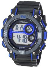 Armitron Sport 40/8284BLU Large Metallic Blue Accented Black Resin Strap Chronograph Digital