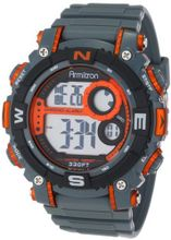 Armitron Sport 40/8284ORG Large Metallic Orange Accented Grey Resin Strap Chronograph Digital
