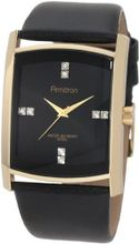 Armitron 204604BKGPBK Swarovski Crystal Accented Gold-Tone Black Leather Strap