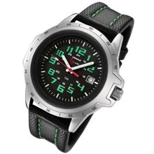 Armourlite ColorBurst Shatterproof Scratch Resistant Glass Green Tritium 10 yr battery w/ Green Stitching on Black Leather Band AL203