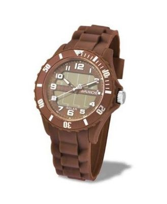 Avalanche Solar Unisex Quartz with Brown Dial Analogue Display and Brown Silicone Strap AV-1012S-BR