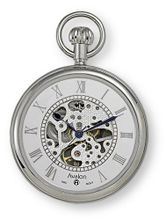 Avalon 17 Jewel Mechanical Skeleton Silver-tone Pocket with Chain, # 8410SX