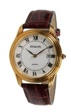 Avalon Classic Gold Tone Round Date Leather Strap # 1351