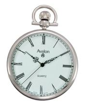 Avalon Classic Silver-Tone Swiss Parts Quartz Pocket with Chain and Built-In Stand # 8140SX