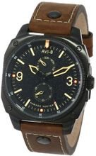 "AVI-8 AV-4010-03 ""Hawker Hunter"" Black Ion-Plated Stainless Steel and Brown Leather Strap"