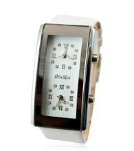 Baidi BBD-710318W Dual Dials White leather Strap+ Crystal Rhinestone Dual White Dials Fashion Style Wrist Analog Display