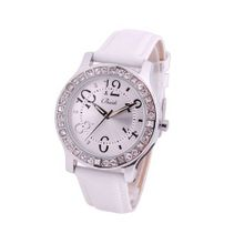 "Baidi BBD-71092W ""Easy Reader ""Crystal Rhinestone Analog Leather Strap White"