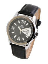 "Baidi BBD-72025B Classic Analog Black Leather Strap ""Easy Reader"" -Calendar Display"
