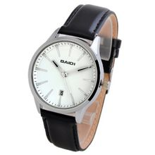 Baidi BBD-72035W Classic White Dial Black Leather Strap Analog Quartz Casual - Calendar Display