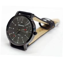 "Baidi BBD-72038B Black Dial and Black Leather Strap ""Easy Reader""Calendar Analog Wrist"