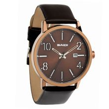 "Baidi BBD-73010B ""Easy Reader"" Analog Black Leather Strap Casual"