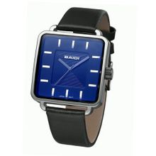 Baidi BBD-73013B Japan Quartz Blue Square Dial Black Leather Strap -Simple Leisure Style