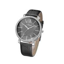 Baidi BBD-795B Black Leather Strap Black Big Dial Crystal Rhinestone Accented Wrist