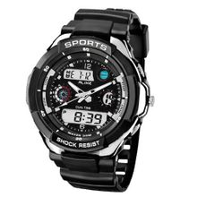 Baidi BBD-AK1170S Analog + Digital Sport Multifunctional-el Backlight /Alarm/timer, Casual,sport Black + Silver Wrist for /Boys' Waterproof Perfect for Gifts