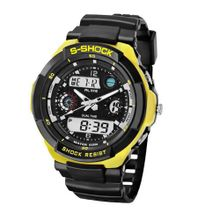 Baidi BBD-AK1170Y Yellow-Tone Black Rubber Strap Analog-Digital Sport Bracket