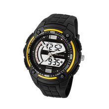 Baidi BBD-AK1280Y Analog-Digital Sport Wrist Yellow-Tone Black Strap