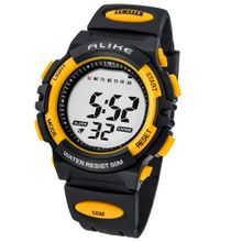 Baidi BD-AK5109Y Digital Sport Black Rubber Strap Yellow-Tone