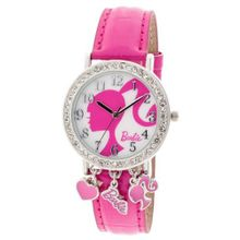 Barbie Girls BARAQ088 Analog with Crystal Accents Cute Charms and Dark Pink Strap